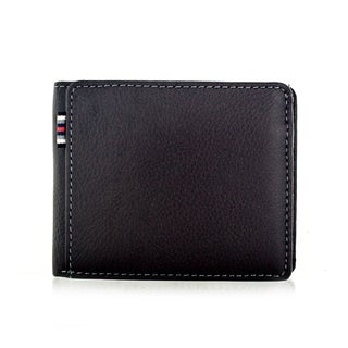 Faddism Brandio Series Men's Charcoal Brown Leather Bifold Wallet