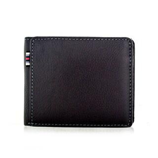 Faddism Brandio Series Men's Charcoal Brown Leather Bifold Wallet