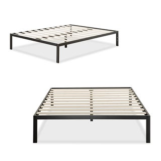 Priage Black Finish Wood 1500 Queen Platform Bed Frame