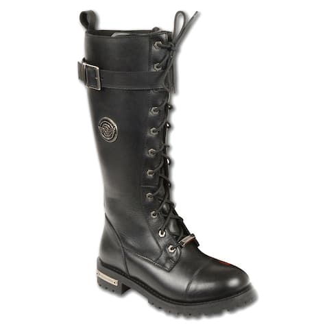Womens Leather Boot with Calf Buckle and Full Lacing