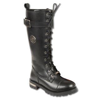 Women's Leather Boot with Calf Buckle and Full Lacing|https://ak1.ostkcdn.com/images/products/11724856/P18644602.jpg?impolicy=medium