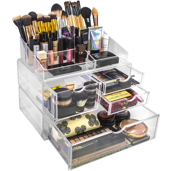 Acrylic X-Large 4 Drawer with Sectional Makeup Organizer