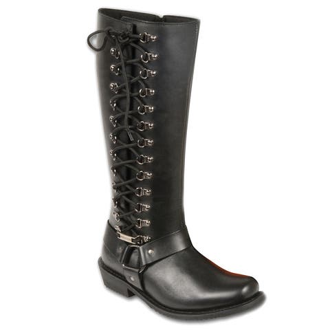 Womens Classic Harness Leather Boot with Full Lacing