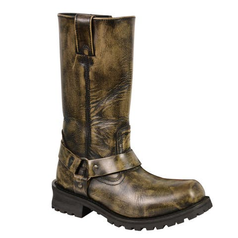Mens Distressed Brown Classic Harness Square Toe Boot