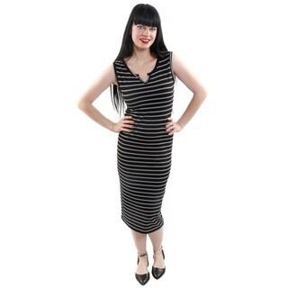 Hadari Women's Sleeveless Striped Sheath Fashion Dress