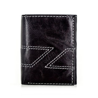 Faddism YAALI Series Men's Charcoal Brown Leather Trifold Wallet