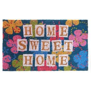 'Home Sweet Home' Floral Coir Mat