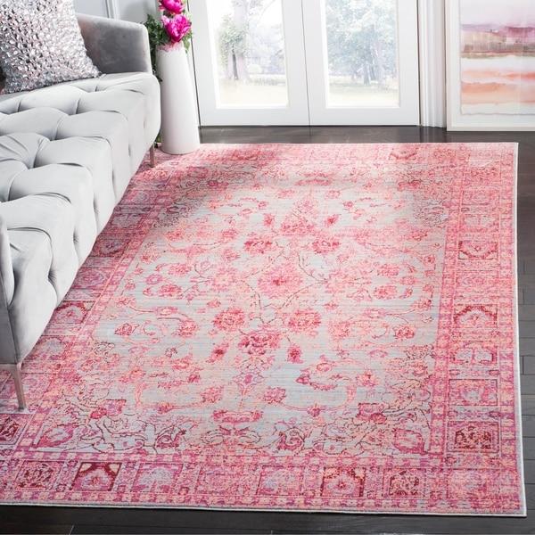 Safavieh Valencia Fuchsia/ Multi Overdyed Distressed Silky Polyester Rug - 5' x 8'
