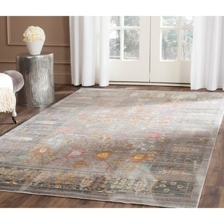 Safavieh Valencia Grey/ Multi Distressed Silky Polyester Rug (6' x 9')