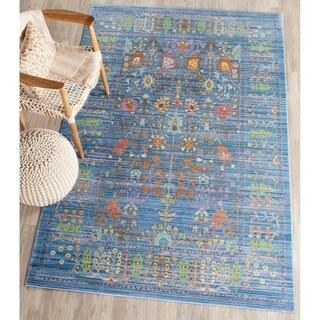 Safavieh Valencia Blue/ Multi Distressed Silky Polyester Rug (6' x 9')