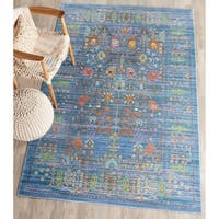 Safavieh Valencia Blue/ Multi Distressed Silky Polyester Rug - 6' x 9'