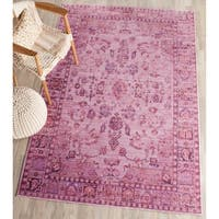 Safavieh Valencia Pink/ Multi Overdyed Distressed Silky Polyester Rug - 5' x 8'