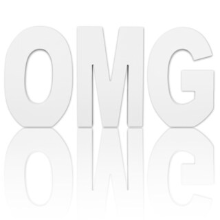 8.75-inch Free Standing White Finish Wooden Decorative Letters 'OMG' Set