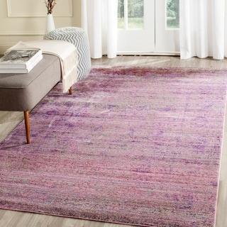Safavieh Valencia Lavender/ Multi Overdyed Distressed Silky Polyester Rug (5' x 8')