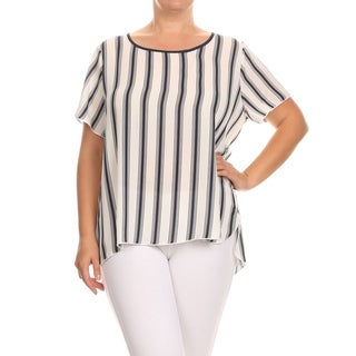 MOA Collection Plus Size Women's Striped Top