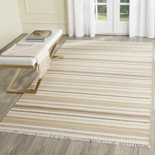 Shop Safavieh Hand Woven Kilim Beige Wool Rug 5 X 8