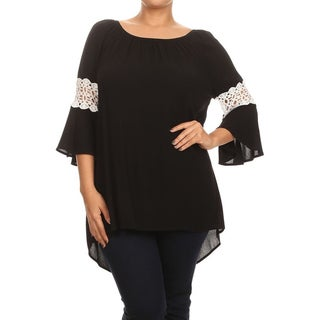 MOA Collection Plus Size Women's Top with Crochet Lace Sleeves