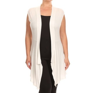 MOA Collection Plus Size Solid Sleeveless Cardigan
