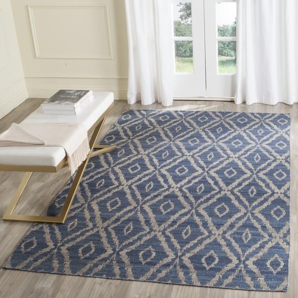 Safavieh Hand-Woven Kilim Blue/ Grey Wool Rug - 5' x 8'