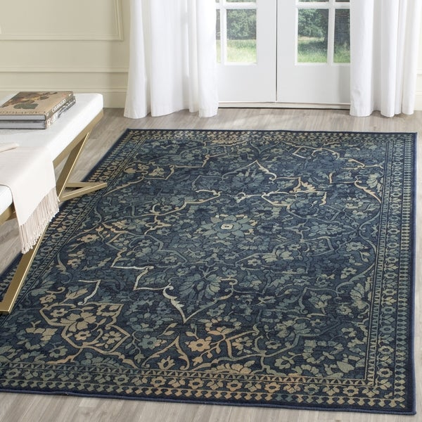 Safavieh Vintage Oriental Blue Yellow Distressed Silky Viscose Rug 5 3 X 7