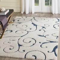 Safavieh Florida Shag Scrollwork Elegance Cream/ Blue Area Rug - 5' 3 x 7' 6