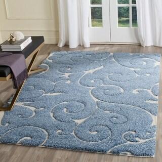 Safavieh Florida Shag Scrollwork Elegance Light Blue/ Cream Area Rug (6' x 9')