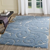 Safavieh Florida Shag Scrollwork Elegance Light Blue/ Cream Area Rug - 6' x 9'
