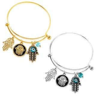 ELYA Hamsa Charm and Turquoise Bead Evil Eye Protection Stainless Steel Bracelet