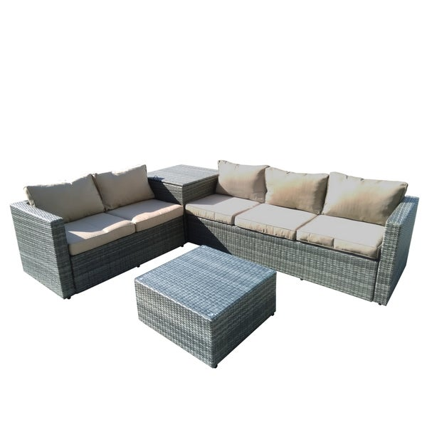 Shop Auroa 4 Piece All Weather Grey Casual Patio Seating Set With