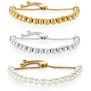 ELYA High Polish Stainless Steel Pull String Stretch Bead Bracelet