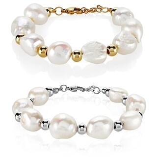 ELYA Fresh Water Pearl High Polish Stainless Steel Bracelet - Silver