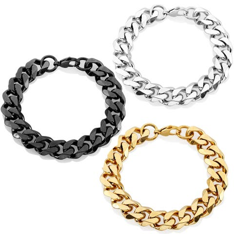 Crucible Stainless Steel 9-inch Beveled Curb Chain Bracelet