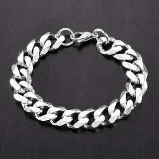 Crucible Stainless Steel 9-inch Beveled Curb Chain Bracelet (Option: White)