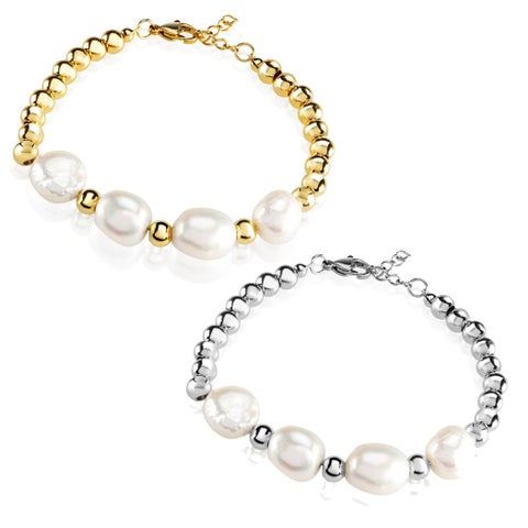 ELYA Fresh Water Pearl High Polish Stainless Steel Bracelet - Silver