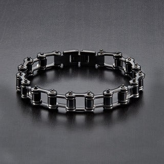 Crucible Polished Stainless Steel Bicycle Chain Link Bracelet - 7.5 inches (11mm Wide)