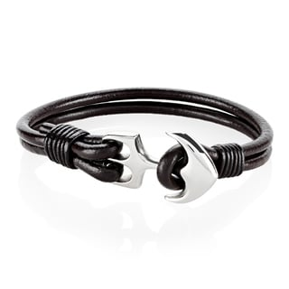 Men's Polished Stainless Steel Anchor Clasp Genuine Leather Bracelet - 8 inches (7mm Wide)