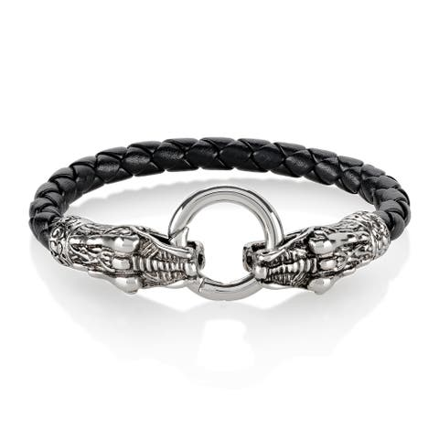 Men's Stainless Steel Twin Dragon Clasp 8-inch Leather Bracelet