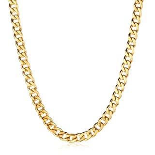 Crucible Men's Polished Stainless Steel Curb Chain Necklace - 24 Inches (9mm Wide)