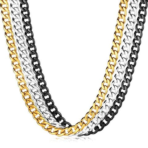 Men's Polished Stainless Steel Curb Chain Necklace (9mm) - 24 Inches