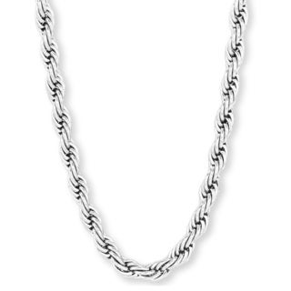 Men's Polished Stainless Steel 30-inch Rope Chain Necklace