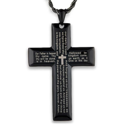 Black Plated Stainless Steel Lord's Prayer Cross Pendant
