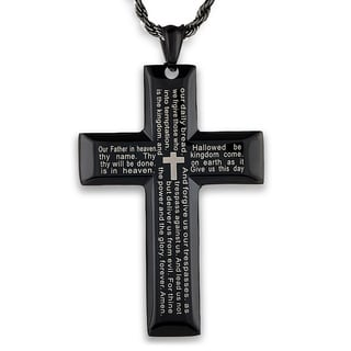 Men's Black Plated Polished Stainless Steel Lord's Prayer Cross Pendant on 24 Inch Black Plated Rope Chain Necklace