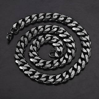 Crucible Stainless Steel Cuban Curb Chain Necklace - 24 Inches (14mm Wide) (Option: Black)