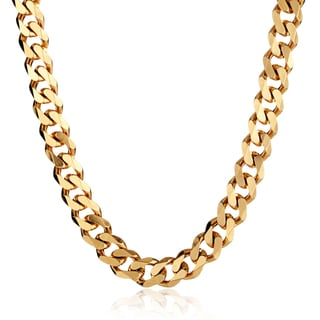 Crucible Stainless Steel Cuban Curb Chain Necklace - 24 Inches (14mm Wide)
