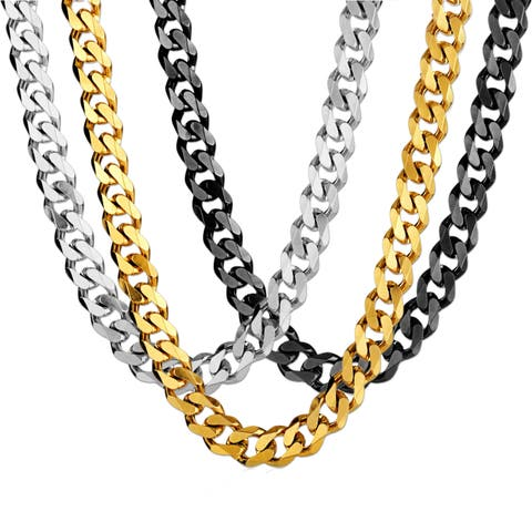 Stainless Steel Cuban Curb Chain Necklace (14mm Wide) - 24 Inches
