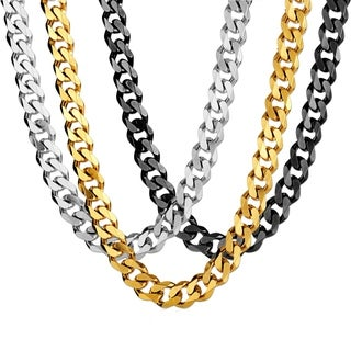 Crucible Stainless Steel Cuban Curb Chain Necklace - 24 Inches (14mm Wide) (3 options available)