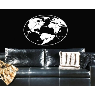 Earth and airplanes Wall Art Sticker Decal White