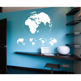 Globe of the planets Wall Art Sticker Decal White
