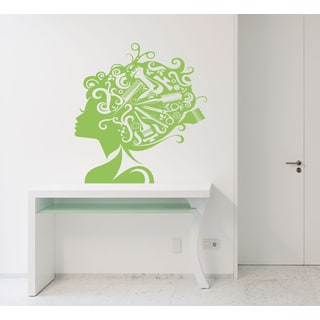 Beauty beautiful hairstyle Wall Art Sticker Decal Green