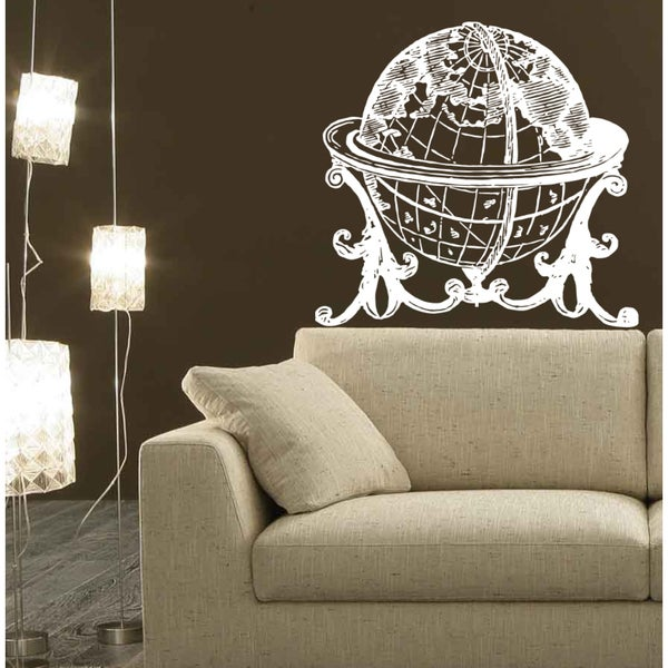 Shop Large Globe Wall Art Sticker Decal White - Free Shipping On ...